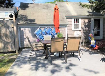 Dennis Port Cape Cod vacation rental - Deck w/outdoor seating.  Charcoal grill & outdoor shower too.