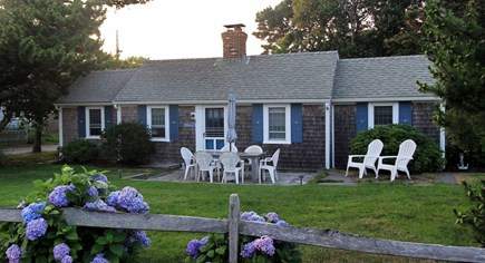 Dennis Port Cape Cod vacation rental - Front of Cottage across the street from Nantucket Sound.