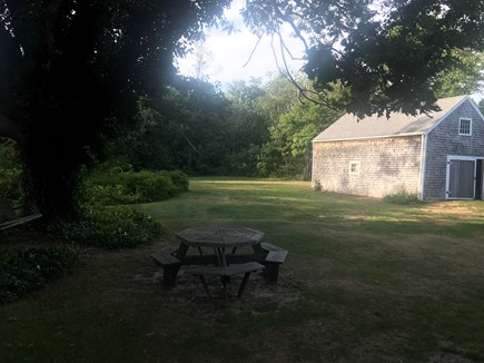 Dennis Cape Cod vacation rental - Our deep backyard is perfect for games or social gatherings.
