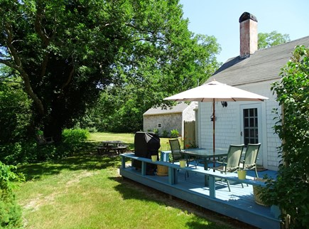 Dennis Cape Cod vacation rental - Deck area – lovely sun and shade in expansive back yard