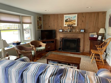 South Yarmouth Cape Cod vacation rental - Bright Sunny Open Concept Living Room working Wood Fireplace