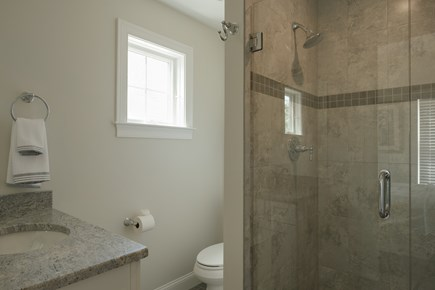 Dennis, Mayflower Beach Cape Cod vacation rental - Master bathroom with large tile shower with glass door