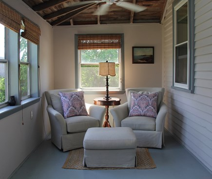 North Truro Cape Cod vacation rental - Swivel chairs and ottoman - perfect for relaxing on the porch