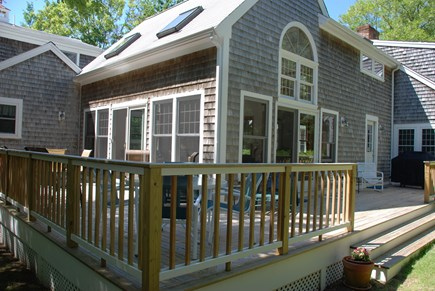 Dennis Village Cape Cod vacation rental - Large wrap around deck with lots of seatingalso outdoor shower