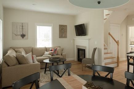 Dennis, Mayflower Beach Cape Cod vacation rental - First floor Den with gas fireplace & Tv