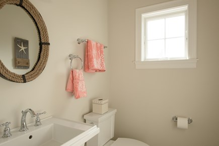 Dennis, Mayflower Beach Cape Cod vacation rental - First floor half bathroom off kitchen and back door