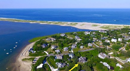 Orleans Cape Cod vacation rental - Aerial shot of Nauset Beach House, yellow arrow points to it