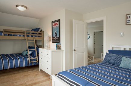 Dennis, Mayflower Beach Cape Cod vacation rental - Second floor bunk room with queen and twin over double bunk beds