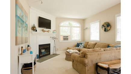 Dennis, Mayflower Beach Cape Cod vacation rental - Second family room with fireplace & TV