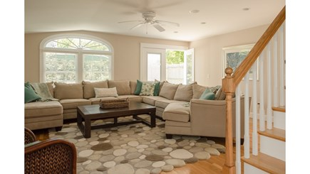 Dennis, Mayflower Beach Cape Cod vacation rental - Large Family room with slider to deck, TV & gas fireplace