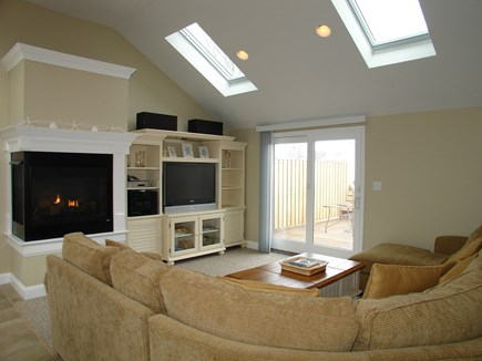 Dennis, Mayflower Beach Cape Cod vacation rental - Family room with gas fireplace and TV & DVD