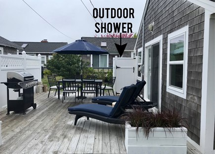 Dennisport Cape Cod vacation rental - Large deck with new furniture, gas grill, and outdoor shower.