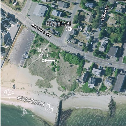 Dennisport Cape Cod vacation rental - Google Map showing our Beachcamp cottage distance to the beach.