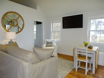 Dennis, Mid Cape Area Cape Cod vacation rental - Newly refinished vaulted living area with flat screen TV