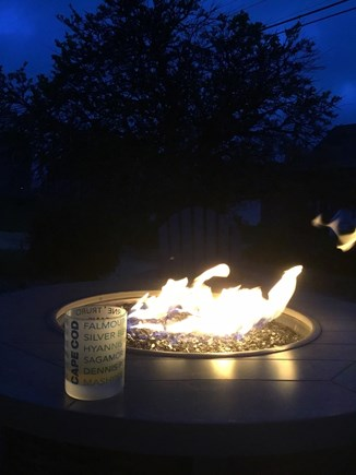 Dennis, Mid Cape Area Cape Cod vacation rental - Fire pit at night