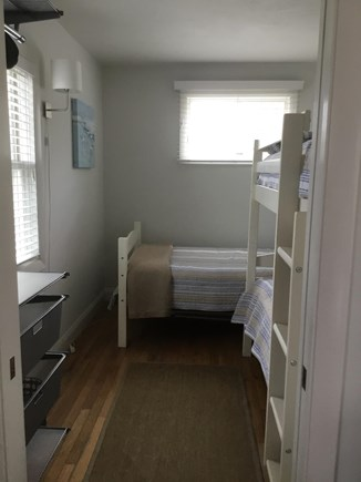 Dennis, Mid Cape Area Cape Cod vacation rental - Bunk room with custom closet system and  lots of light!