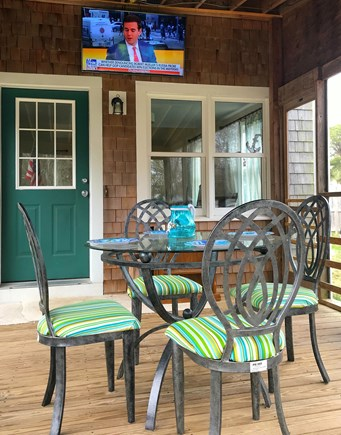 Falmouth Cape Cod vacation rental - Alfresco dining of the screened in porch or watch TV outdoors