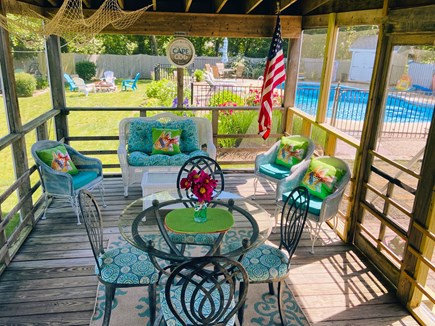 Falmouth Cape Cod vacation rental - Beautiful Backyard; Heated Pool, Outdoor Shower & Fire pit.
