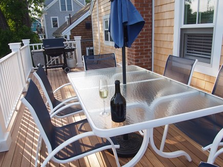 Provincetown Cape Cod vacation rental - Back deck with seating for 8