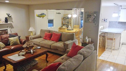 Falmouth, Teaticket Cape Cod vacation rental - Open concept living with fire place dining and kitchen area
