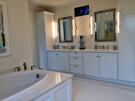 East Orleans Cape Cod vacation rental - Gleaming White Master Bathroom with Views from the Shower