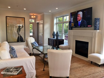 East Orleans Cape Cod vacation rental - 70 Inch TV Over Gas Fireplace