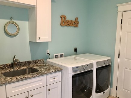 Brewster Cape Cod vacation rental - Laundry with top of the line appliances, ironing board, iron etc.