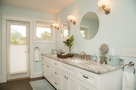 Brewster Cape Cod vacation rental - Master bathroom double sink vanity , robes and slippers provided