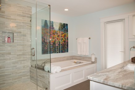 Brewster Cape Cod vacation rental - Master bath tub with inline heater, separate shower, heated floor