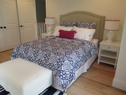 Brewster Cape Cod vacation rental - Bedroom #2 has a queen size bed and embroidered linens.