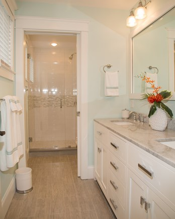 Brewster Cape Cod vacation rental - Second bathroom, dual vanity and toilet/shower privacy door