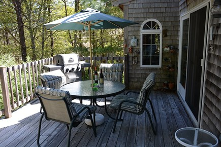 South Wellfleet Cape Cod vacation rental - A large Deck with extra tables and chairs to seat all.