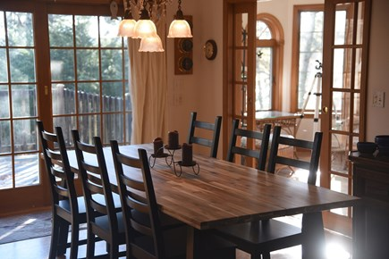 South Wellfleet Cape Cod vacation rental - A large table easily seating ten guests.