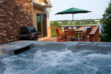 Eastham Cape Cod vacation rental - Hot tub and outdoor dining with water views