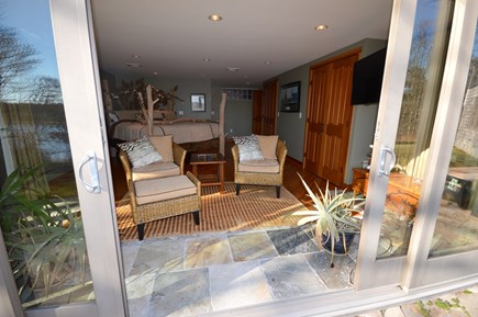 Eastham Cape Cod vacation rental - Sliding doors from master bedroom out to patio overlooking water