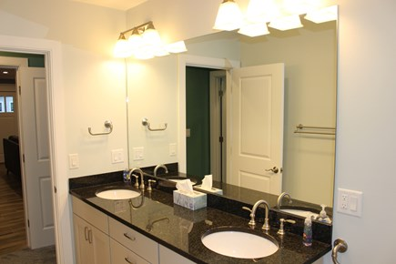 Dennis Port Cape Cod vacation rental - 1st Floor Master Bath w/Double vanity & huge custom tile shower.
