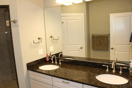 Dennis Port Cape Cod vacation rental - 2nd Fl. Master Bath, double vanity & custom tile shower.