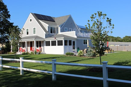 Dennis Port Cape Cod vacation rental - View from Depot St. shows Farmers Porch, Screened Porch, & Patio