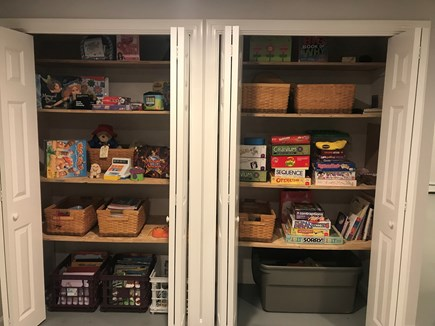 Harwich, 3 Captain Scott Road  Cape Cod vacation rental - Toys and games in the closet just behind Air Hockey !