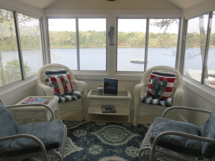 Eastham Cape Cod vacation rental - Porch with waterfront view, sits right on the pond