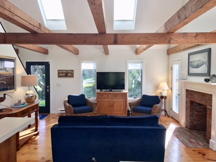 East Orleans Cape Cod vacation rental - Living room with vaulted beamed ceilings & skylights