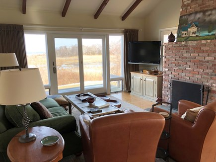 Brewster Cape Cod vacation rental - Living room looking out toward the bay.  Taken this winter.