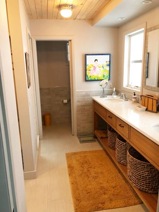 Brewster Cape Cod vacation rental - Master bathroom ( a full shower is on the left )