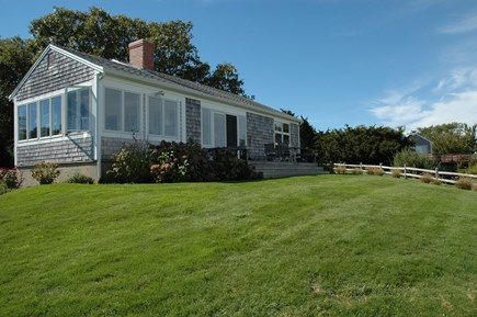 Brewster Cape Cod vacation rental - Front, facing Bay, porch on left, living room ctr, master right