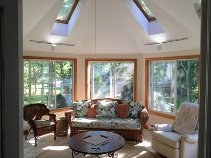 North Falmouth Cape Cod vacation rental - Huge octagon sunroom with 2 skylights and large flatscreen TV