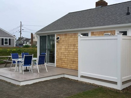 West Dennis Cape Cod vacation rental - Back Deck, sliders/breakfast nook area, outdoor shower, must try!