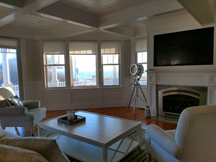 Falmouth Heights Cape Cod vacation rental - Fireplace living room overlooking the beach and ocean