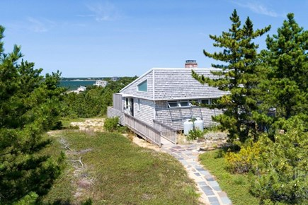 Wellfleet Cape Cod vacation rental - Entrance to house (bay visible just behind it)