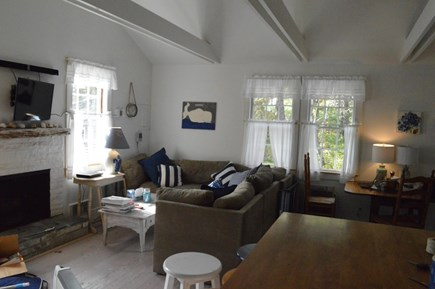 East Orleans Cape Cod vacation rental - The main room features wrap-around seating, fireplace, and TV