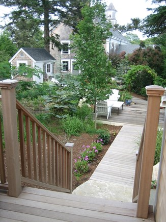 Truro Center Cape Cod vacation rental - Walkway to private gardens and sitting areas